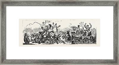 J. Gillray Posting To The Election, A Scene On The Road Framed Print