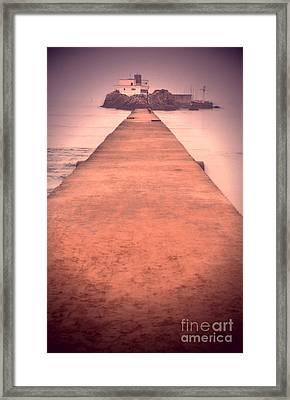 Strolling By The Bridge Framed Print
