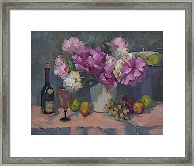 J. P. Chenet And Peonies Framed Print by Diane McClary