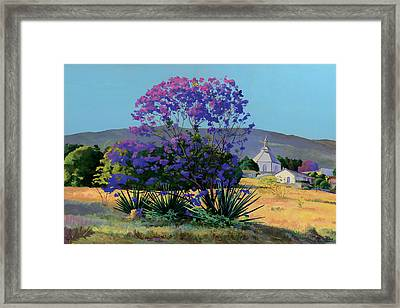 Jacaranda Holy Ghost Church In Kula Maui Hawaii Framed Print by Don Jusko