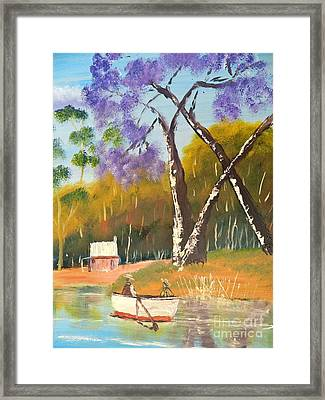 Framed Print featuring the painting Jacaranda Tree by Pamela  Meredith