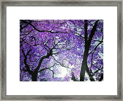Framed Print featuring the painting Jacarandas By The River by Marie-Line Vasseur