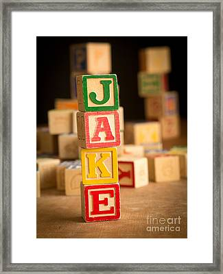 Jake - Alphabet Blocks Framed Print by Edward Fielding
