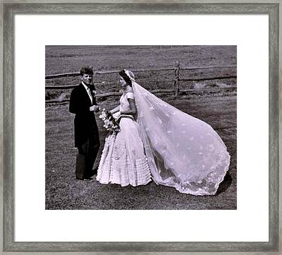 Jack And Jackie Kennedy Wedding Framed Print by Toni Frissell