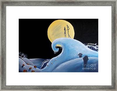 Jack And Sally Snowy Hill Framed Print