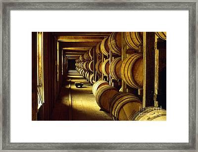 Jack Daniel Whiskey Maturing In Barrels In Old Warehouse At The Lynchburg Distillery Tennessee Usa Framed Print by David Lyons