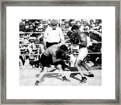 Jack Dempsey Fights Tommy Gibbons Framed Print