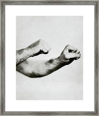 Jack Dempsey's Hands Framed Print by Ira L. Hill