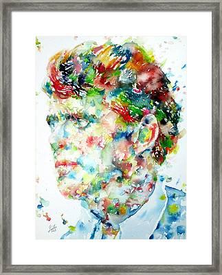 Jack London - Watercolor Portrait Framed Print by Fabrizio Cassetta