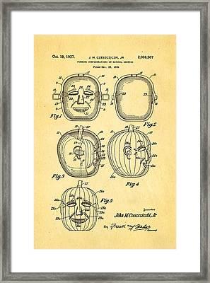 Jack O Lantern Pumpkin Mould Patent Art 1937 - Halloween Framed Print by Ian Monk