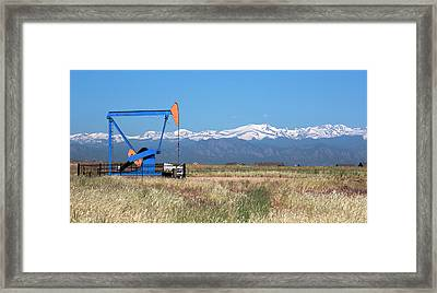 Jack Pump At An Oil Well Framed Print by Jim West