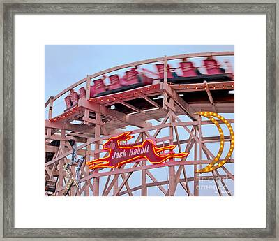 Jack Rabbit Coaster Kennywood Park Framed Print by Jim Zahniser