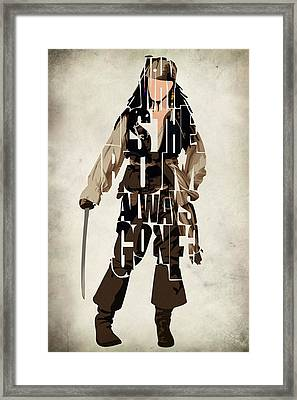 Jack Sparrow Inspired Pirates Of The Caribbean Typographic Poster Framed Print by Ayse Deniz