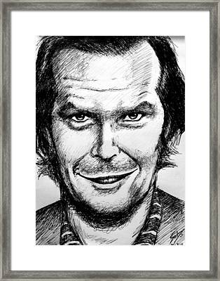 Framed Print featuring the drawing Jack Nicholson #2 by Salman Ravish