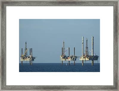 Framed Print featuring the photograph Jack Up Well Platforms by Bradford Martin