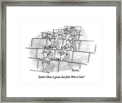 Jackie Chan Is Great Framed Print by Jack Ziegler