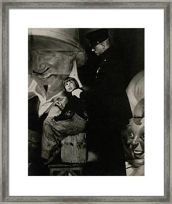 Jackie Coogan With A Policeman Framed Print by Edward Steichen