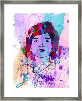 Jackie Kennedy Watercolor Framed Print by Naxart Studio