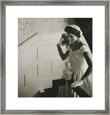 Jackie Kennedy Wedding Framed Print by Toni Frissell
