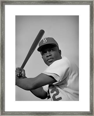 Jackie Robinson - 1954 Framed Print by Mountain Dreams