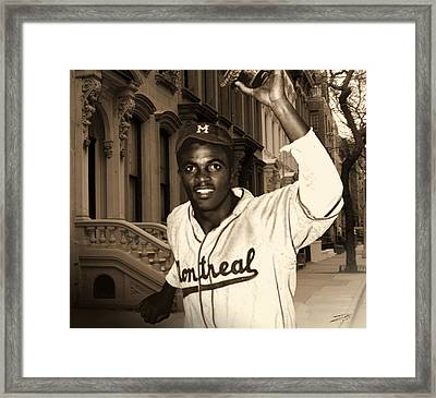 Jackie Robinson Comes To Brooklyn Framed Print by IM Spadecaller
