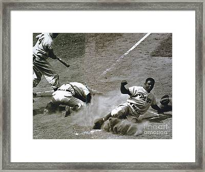 Jackie Robinson Sliding Home Framed Print by R Muirhead Art