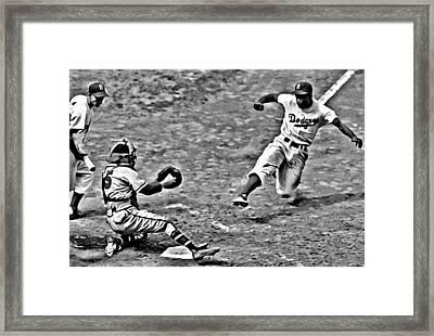 Jackie Robinson Stealing Home Framed Print