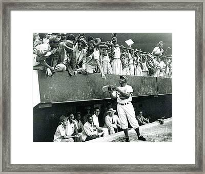Jackie Robinson Signs Autographs Vintage Baseball Framed Print