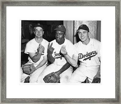 Jackie Robinson With Teammates Framed Print by Gianfranco Weiss