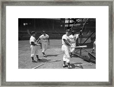 Jackie Robinson And Duke Snider  Framed Print