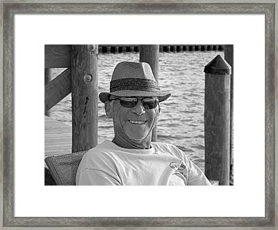 Jackie Sitting On The Dock Of The Bay Framed Print