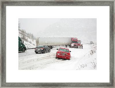 Jacknifed Truck Blocking Highway Framed Print by Jim West