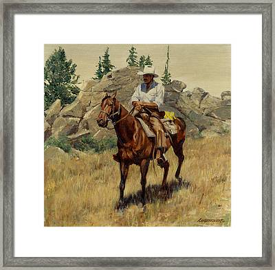 Jackson Hole George On His Horse Framed Print by Don  Langeneckert
