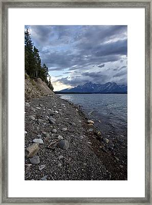 Framed Print featuring the photograph Jackson Lake Shore With Grand Tetons by Belinda Greb
