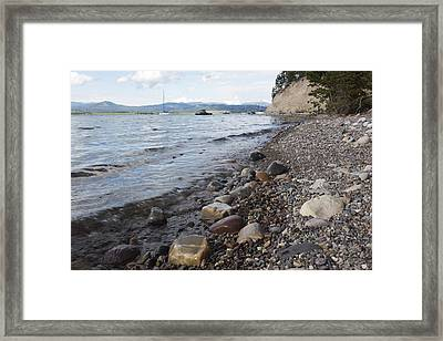Framed Print featuring the photograph Jackson Lake With Boats by Belinda Greb