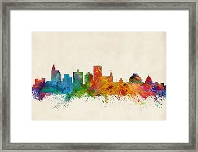 Jackson Mississippi Skyline Framed Print by Michael Tompsett