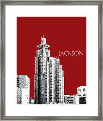 Jackson Skyline - Dark Red Framed Print by DB Artist