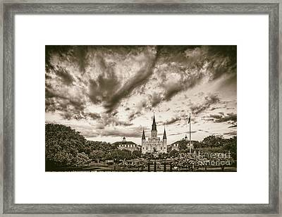 Jackson Square And St. Louis Cathedral In Black And White - New Orleans Louisiana Framed Print by Silvio Ligutti