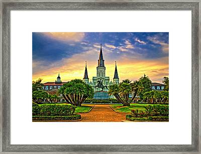 Jackson Square Evening - Paint Framed Print
