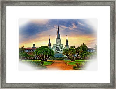 Jackson Square Evening Vignette Framed Print by Steve Harrington