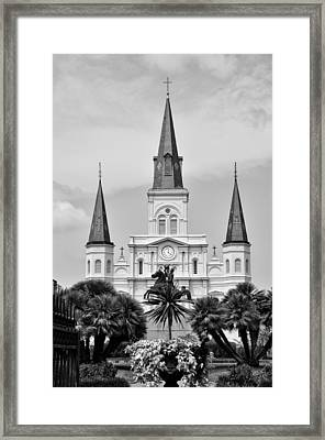 Jackson Square In Black And White Framed Print by Bill Cannon