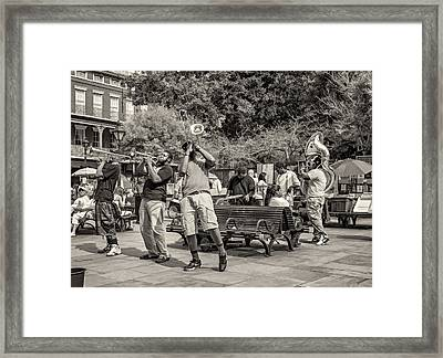 Jackson Square Jazz Sepia Framed Print by Steve Harrington
