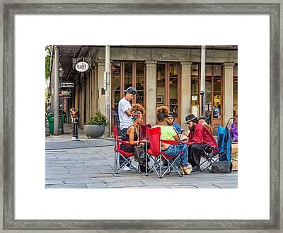 Jackson Square Reading 2 Framed Print by Steve Harrington