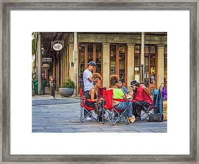 Jackson Square Reading 3 Framed Print by Steve Harrington