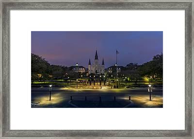 Jackson Square Sunrise Framed Print by David Morefield