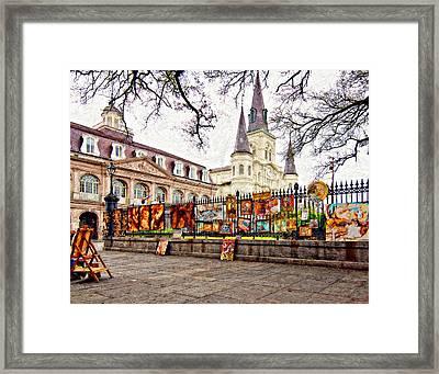 Jackson Square Winter 2 Impasto Framed Print by Steve Harrington