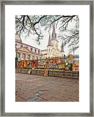Jackson Square Winter Impasto Framed Print by Steve Harrington