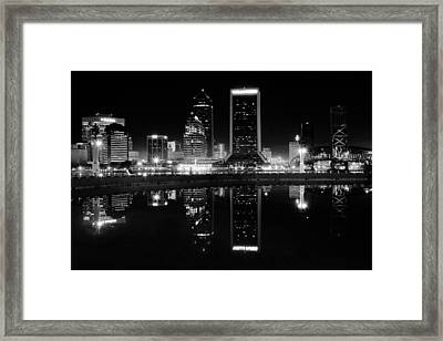 Jacksonille Black And White Night Framed Print by Frozen in Time Fine Art Photography