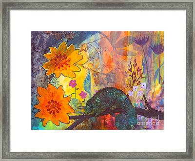 Framed Print featuring the painting Jackson's Chameleon by Robin Maria Pedrero