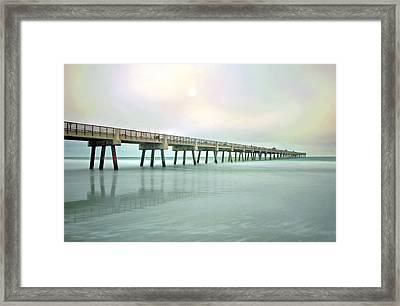 Jacksonville Beach Pier Framed Print by Marion Johnson